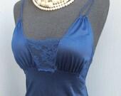 Vintage 60s/70s Sentiments Lingerie, Navy Blue Long Gown, Glamorous, size Petite
