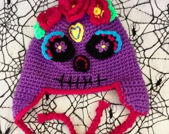 Sugar Skull Crochet Hat, Costume hat, Dia de Los Muertos, Day of the Dead, Halloween Sugar Skull Costume Hat , Day of the Dead Hat, Earflaps