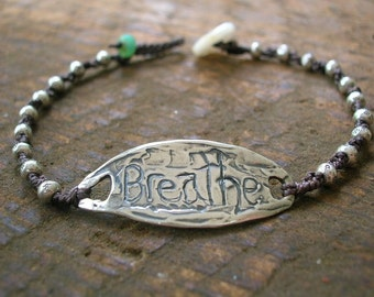 Knotted sterling silver bracelet - Breathe - Boho chic jewelry bohemian, dainty, layering bracelet, hippie chic summer jewelry