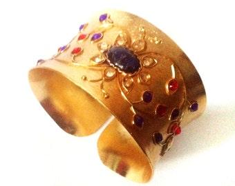 Gold Cuff Bracelet ,Antique Kundan Bangle,Exotic fusion cuff,Gemstone bracelet,Statement Baroque Wedding Jewelry by Taneesi.