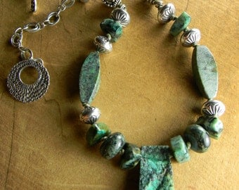 Tribal Jewelry African Necklace Sterling Silver Turquoise Pale Blue Rustic Druzy