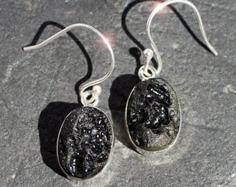 Gems from the Sky - Natural Tektite Sterling Silver Earrings