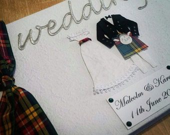 Scottish Wedding Guest Book - Your choice of clan Tartan