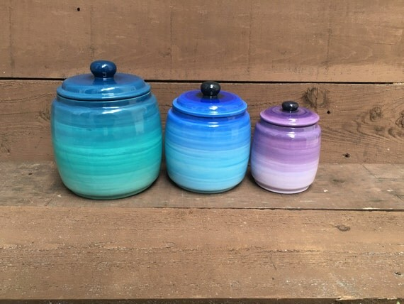 purple canister set kitchen turquoise blue and purple 211 mbre kitchen canister set 3 21385