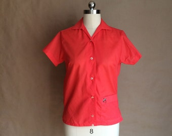 vintage 1960's bowling shirt / womens shirt / Hilton shirt / waist pocket / deadstock / Grease / rockabilly / mod