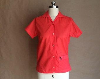 WEEKEND SALE 25% OFF / vintage 1960's Hilton bowling shirt / womens / coral / waist pocket / nos / deadstock / vintage bowling shirt