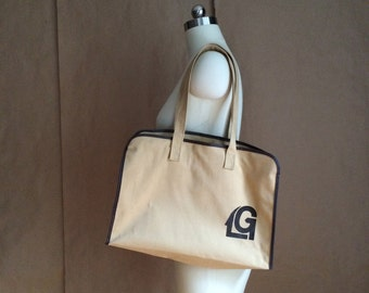 vintage 70's canvas tote / shoulder bag /  purse
