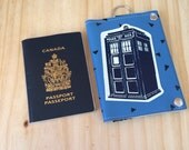 Doctor Who Tardis Scifi Vegan Leather Silkscreen Fan Girl Passport Wallet