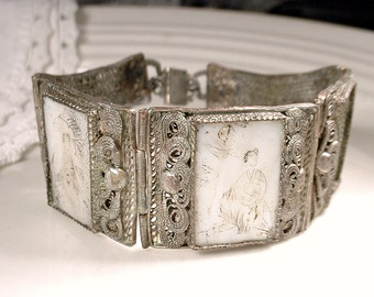 Antique Chinese Scrimshaw Silver 3 Panel Mother of Pearl Story Bracelet, Asian Export Vintage Filigree Wide Link Scene Cuff Bracelet