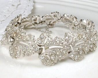 TRUE Vintage Art Deco Pave Rhinestone Leaf Wide Link Bracelet, Bridal Silver Clear 1920s Nouveau Flapper Jewelry, Gatsby Wedding 1940 Autumn