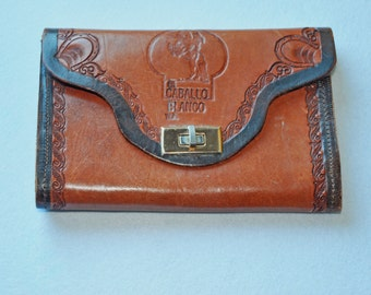Vintage Tooled Leather Clutch Purse Pouch