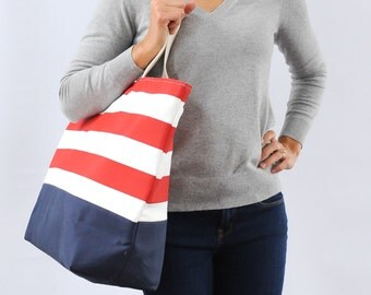 EXTRA Large Beach Bag // Nautical Red Stripes, Monogram Available