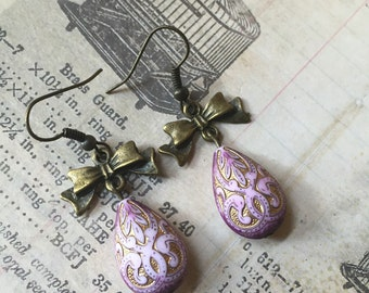 Lavender Teardrop Bow Earrings