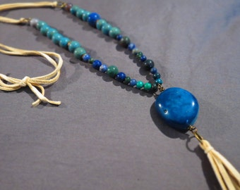 Necklace: Blue Stone Agate and Neutral Leather Tassel by Sarah Wiley Jewelry 160005AL