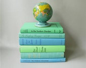 Vintage Display Books, Stack, Blue Green Aqua, Instant Collection, Props, Home Decor, Beach