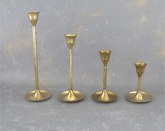 Vintage Brass Candle Holders, Set, modern, graduated, instant collection