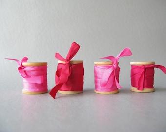 Silk Ribbon on Wood Spools, Wood spools, pinks, red