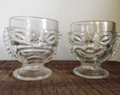 Pair of Vintage Disney Polynesian Village Happy / Sad Tiki Glasses