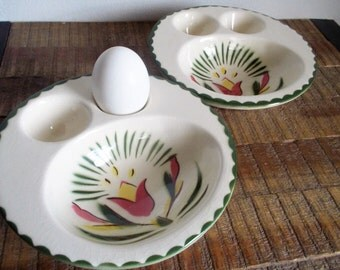 Pair of 1940s Cardinal Pottery Two Egg Breakfast Bowls