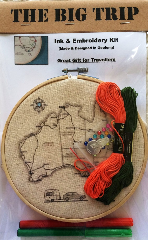 Embroidery Kit Hoop Art  Australia Caravan Map  Fabric