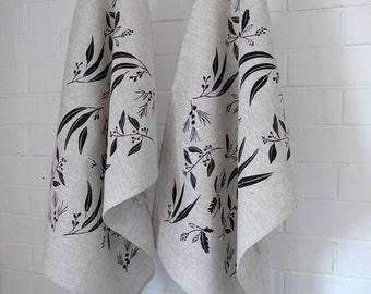 Linen Tea Towel Screen Printed Tea Towel Hand Printed Black&Natural Australian Plants