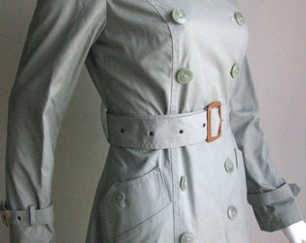 70s vintage spy agent  waterproof long trench mint color small