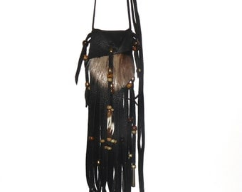Black deerskin beaver fur neck pouch medicine bag mountain man pow wow totem
