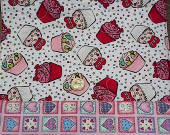 """Table Runner - Reversible, Valentine Cupcakes and Conversation Hearts, 12."""" X 40"""""""