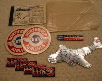 Vintage 17 piece lot of Northwest Orient Airlines memorabilia from the 1940's . . excellent  vintage condition . . complete set . . RARE
