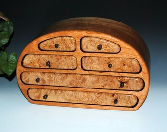 Handmade Solid Cherry Large Wood Jewelry Box with Maple Burl by BurlWoodBox - Handmade Large Wood Jewelry Box - Wooden Jewelry Box - Storage