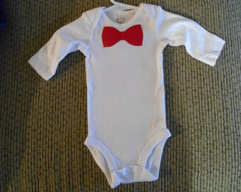 Infant boys onesie with red bow tie size 0-3 months longsleeve valentines day