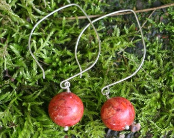 Sponge Coral Balls on Hand Formed Sterling Silver Hoop Earrings