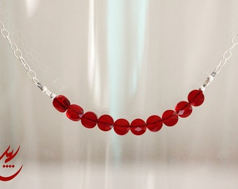 Red Siam Swarovski Mini Crystal Necklace, Sterling Silver Necklace, Minimalist Necklace, Dainty Lightweight Necklace, designbybehin,
