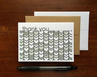 Chevron Thank You Notes - Grey Thank You Cards, Chevron Herringbone Geometric Stationery Set, Charcoal Grey White Modern Thank You Card Set