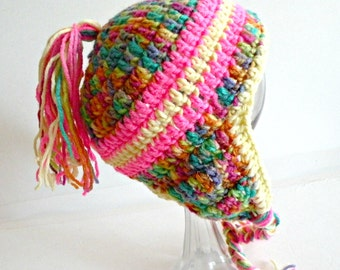 Toddler Sherpa, Earflap hat, 3-6 Months Size, Multicolor, Pink and Yellow