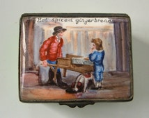 Antique Enamel Bilston Battersea Table Snuff Trinket Box Gingerbread Seller 19th C England