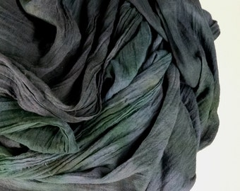 Gray Blue Green Extra Long Gauze Scarf, Chunky Scarf, Head Wrap, Hand Dyed Scarf