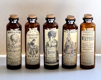 5 Apothecary Bottles