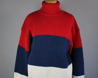 Vintage 90s Women's Red Navy White French Pride Bastille Day Fall Winter Cotton Turtleneck Sweater