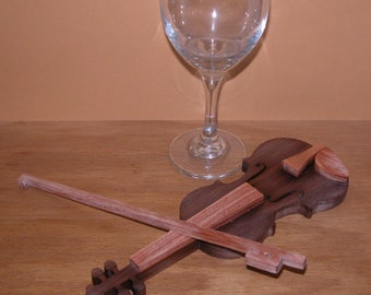 Violin - Musical Decor - No Strings - Wooden Violin in Miniature