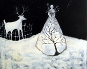 Caretaker, an 8x8 GICLEE Print from an original painting, deer, woman, night sky, snow, christmas, animals, trees