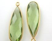 Bezel Gemstone Green Amethyst Quartz-Elongated Teardrop Charm-Gold Vermeil Frame-Jewelry Bezel Charms-Long Pendant- 34mm-201105-GAQ (1 pc)