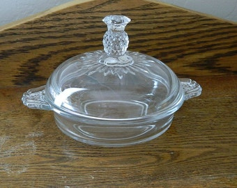 Heisey Glass Plantation Round Covered Butter Dish - Pineapple Knob 1948 - 1956