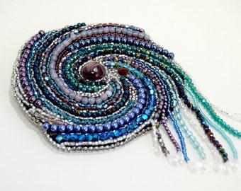 Crystal Galaxy Solar System Bead Embroidered Brooch EBWC
