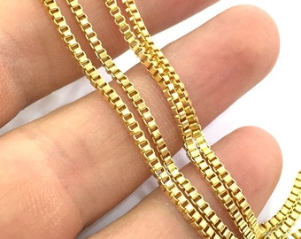 Gold Plated Square Chain 1 Meter - 3.3 Feet  (2 mm)    G4686