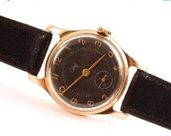 25 OFF SALE Watch, vintage watch, watch Svet, black watch, golden