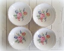 Vintage China Bowls Scio Pottery Bridal Shower Tea Party Wedding Dishes Hazel Pattern Shabby Chic Boho Wedding Decor