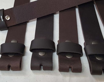 "Dark Brown Leather Snap Belts Oiled Buffalo Leather Belts for Suits or Jeans Custom Cut for Your Waist Size Leather Snap Belts 1.5"" or 1.25"""
