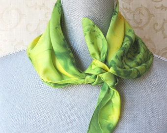 Lime Green and Sunny Yellow Silk Bandana Scarf Discounted