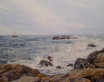 Watercolor Print Walker Point, Kennebunkport Maine Cards Ship Gone From My Sight Signed by Kellie Chasse Gift, Family, Home decor, Wall art